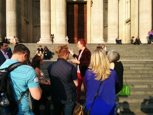 Outside St. Paul's with Vic  (with red hair) and other tour members,
