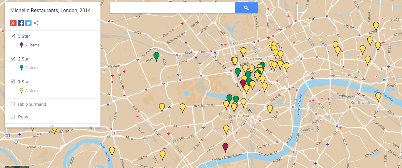 London's 2015 Michelin Starred Restaurants Mapped & Listed