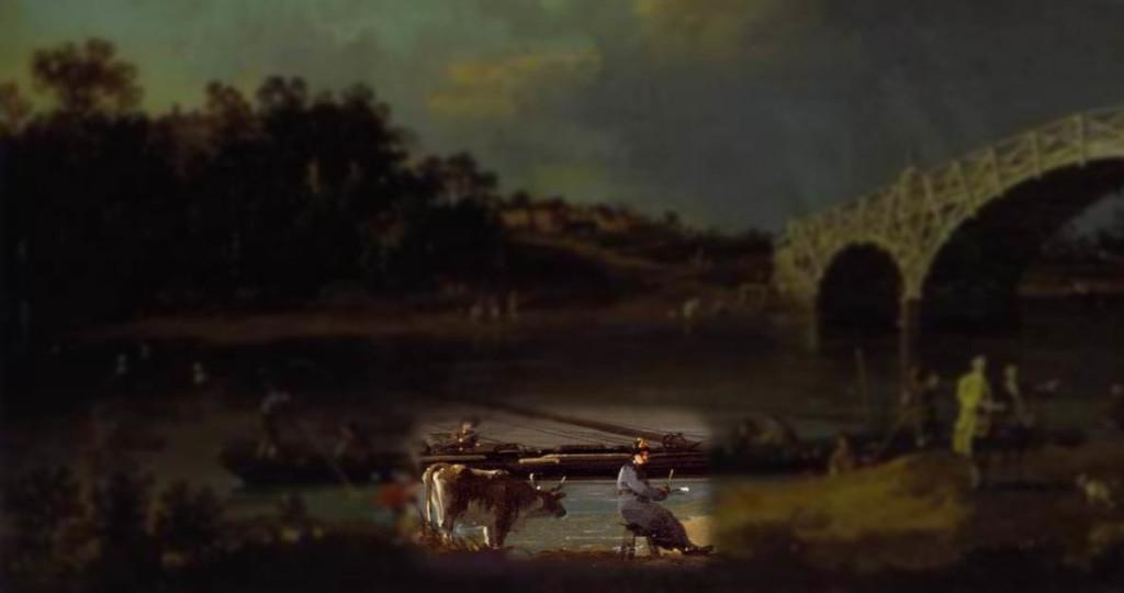 Old Walton Bridge [Detail] (1754) Canaletto